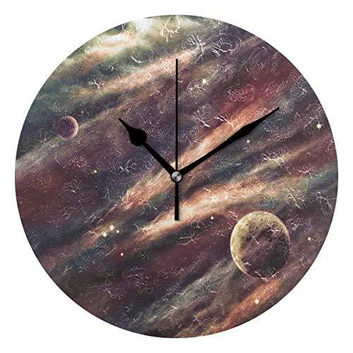 LISUMAL Nebulosa dello Spazio cosmico Stampa Nuvola,Sveglia Rotonda Senza Scala da 25 cm per Uso Domestico, Display da Parete a Doppio Uso, Stile retrò Rustico colorato Chic