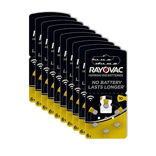 Rayovac Acoustic Zink Luft Hörgerätebatterie in der Größe 10 Pack (mit 60 Batterien geeignet für Hörgeräte Hörhilfen Hörverstärker) gelb
