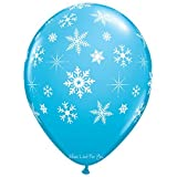 """SNOWFLAKES AND SPARKLES 11"""" LATEX BLUE BALLOONS PACK OF 20 FOR CELEBRATIONS PARTIES BIRTHDAYS CHRISTMAS WEDDING CHRISTEINING BABY SHOWER"""