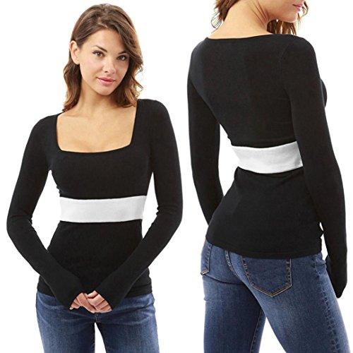 Kword Camicetta Donne U Collo Stretto T Shirt Manica Lunga Pullover Cime A Strisce Camicie Donna Nero