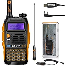 Baofeng Pofung GT-3TP Tri-Power 8/4/1W Two-Way Radio Transceiver Walkie Talkie+ Cavo di Programmazione, Dual Band 136-174/400-520 MHz Vero 8W High Power radio bidirezionale, con aggiornato Chip, 23cm (9