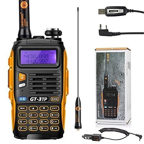 2015 Baofeng GT-3 TP Mark III 136-174 / 400-520MHz Tri-Power 1/4 / 8W talkie walkie plus efficaces Range pour Parler avec 8W puissance de sortie + Câble de programmation&CD + Chargeur de voiture + Antenne + Adaptateur + Chargeur de bureau + Li-ion batterie,etc.