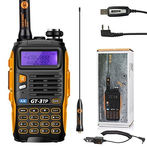 BaoFeng 3 GT-3 Mark II Talkie-walkie d'amateur - Radio UHF/VHF 2 m/70 cm - Talkie walkie bibande PMR + Câble USB