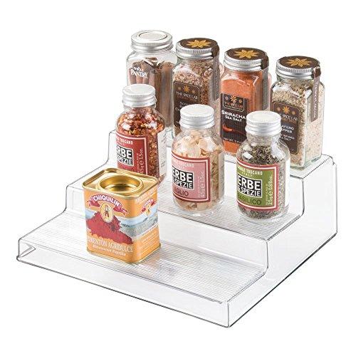 iDesign Linus Organizer, dreistöckige Abstellfläche aus Kunststoff für Gewürze und Vorräte, durchsichtig