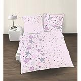 Fein Biber Mädchen Bettwäsche Sterne Stars in rosa lila grau 2 tlg. - Größe 80x80 + 135x200 cm - hergestellt in Deutschland