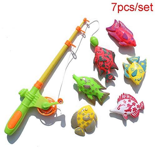 czos88 7pcs / Juego Infantil Pesca Juguetes 1 Plástico Caña de Pescar y 6...