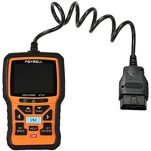 Foxwell NT301 OBDII EOBD CAN/cavo USB/CD con Software e guida utente NT301 è conforme auto, leggeri, autocarri, veicoli a due e SUV, minivans e hybrid vendute in tutto il mondo