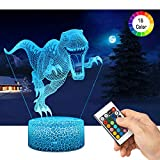 Lampada Dinosauro 3D con Controllo Remoto, QiLiTd Lampade Notturna LED 5 Luminosità + Muliticolore Regolabile RGB Luce Notturna da Comodino con Controllo Tattile per Regalo di Compleanno e Natale