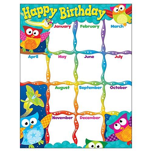 Trend Enterprises Happy Birthday (owl-stars.) Learning Diagramm (t-38452) (Diagramm Klassenzimmer Geburtstag)