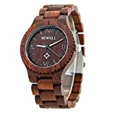 Men's Wooden Watch aus leichtem Retro Natural Wood, handgemachte hölzerne Uhren mit Box passend für Father's Day Gift (Red)