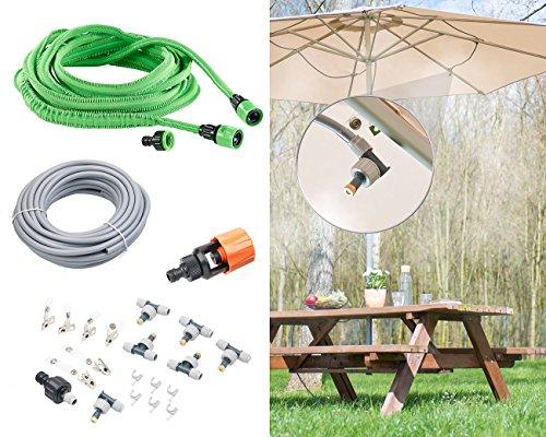 Royal Gardineer Wasser Zerstäuber Set: Wasserzerstäuber-Set mit dehnbarem Gartenschlauch & Wasserhahn-Adapter (Wasserzerstäuber Terrasse) -