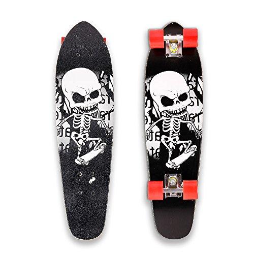 WeSkate 71cm Cruiser Skateboard Komplett Mini Vintage Skate Board mit rutschfestem Deck für Kinder Erwachsene