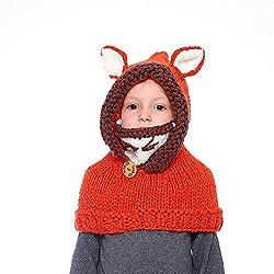 Bufanda caliente del sombrero de las muchachas Sombrero y bufanda de dibujos animados para niños Orejeras Orejeras Lana tejida Gorra Sombreros Estolas con capucha para bebés Niños Chicas Chicos para n