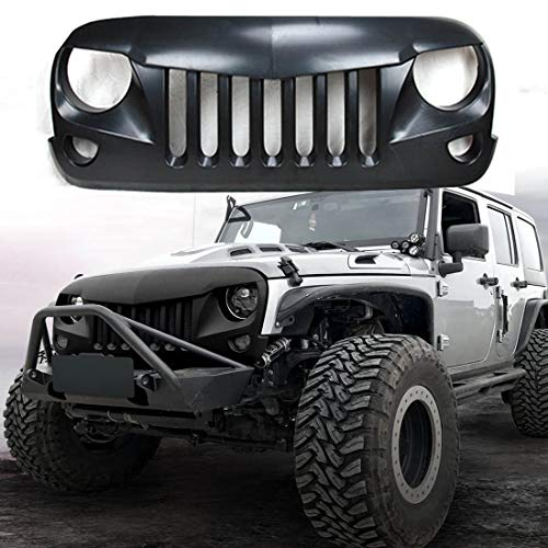 2007 - 2018 JK JKU J-eep Wrangler Grill Grille for Wrangler Accessories & Unlimited Rubicon Sahara Sports,2007 - 2018(Matte Black Eagle Eye) - Unlimited Sport Jeep Wrangler