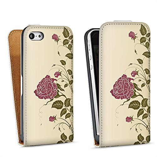 Apple iPhone 5 Housse Étui Silicone Coque Protection Roses Roses Roses Sac Downflip blanc