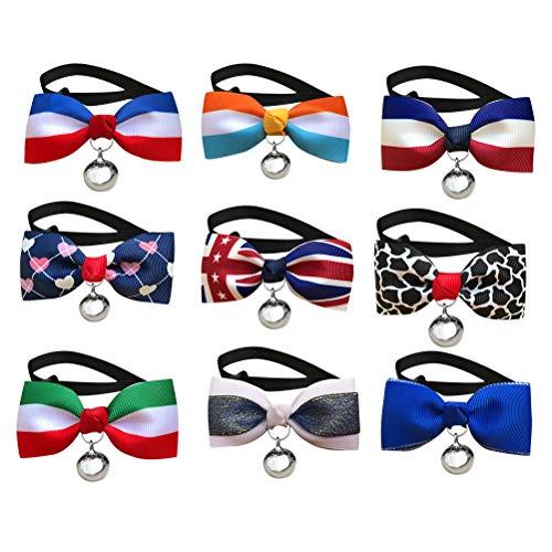 BESTOYARD 3 stücke Hundehalsband mit Bogen Glocken Hundehalsband Krawatte Krawatten Weihnachten Neujahr Party Kostüm Accessiories für Welpen Katzen Kleine Hunde (zufällige Farbe) (Katze Bogen Krawatte Kostüm)