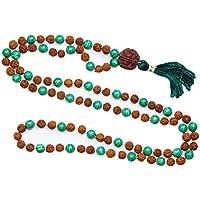Mogul Interior Love Heart Chakra Necklace Green Jade Prayer Beads Rudraksha Yoga Japamala