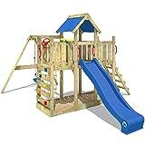WICKEY Spielturm TwinFlyer Kletterturm mit Schaukel, Rutsche, Sandkasten + Zubehör-Komplettset, blaue Dachplane + blaue Rutsche