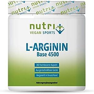 L-ARGININ BASE Kapseln vegan hochdosiert – fermentiert laborgeprüft – 4500mg 100% reines pflanzliches L-Arginine für Männer & Frauen – 360 Caps ohne Magnesiumstearat + Gelatine