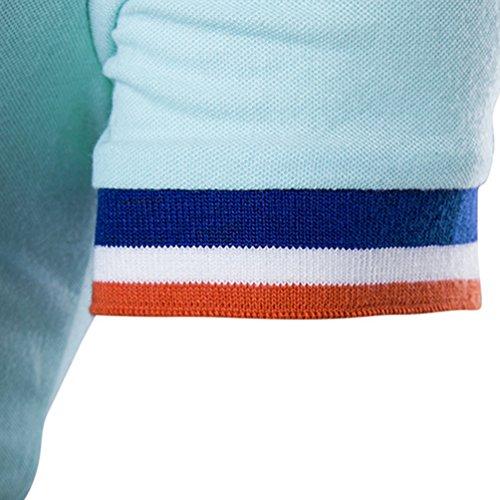 CHENGYANG Herren Revers Kurzarm T-shirt Casual Streifen Stitching Poloshirt Licht Blau