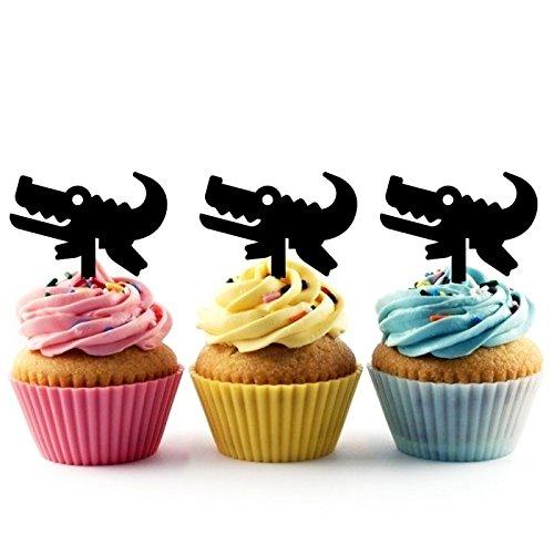 Foto de Alligator Cupcake Cake Topper para tartas decoración para ceremonia de cumpleaños celebración boda decoración de acrílico Topper para Cake Fiesta Pastel Decoraciones 10 piezas