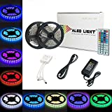 ALED LIGHT® Non-waterproof 2x5M (10M in Total) 5050 RGB 300 LED Strip Lights Full Kit With 5A UK Power Supply +44 Key IR Remote.Ideal for Home and Kitchen Lighting.