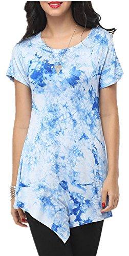 Kurzarm Tie Dye Farbverlauf Hoch Niedrig Saum Unregelmäßige Saum T-Shirt Tee Blouse Bluse Hemd Shirt Oberteil Top Blau XL -