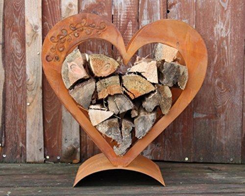 Herz Holzregal aus verrostetem Metall, Edelrost Deko für Ihren Garten und Terrase