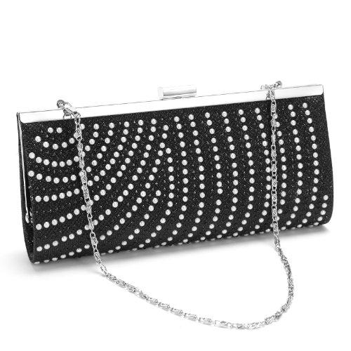 Anladia@ Cartera de Fiesta para Mujer Bolso de Fiesta tipo clutch con las perlas Decoracion Color Negro