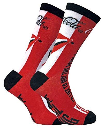 Coca-Cola - 2 Paar Damen Baumwolle Lustig Design Bunt Muster Socken mit Gestreift und Sterne (37-42 EU, CL296)