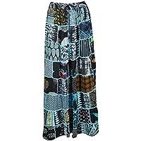 Mogul Interior Women Maxi Skirt Black Patchwork Gypsy Tiered Maxi Skirt S/M