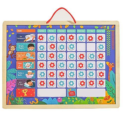 Blanketswarm Tableau de récompense magnétique pour Enfants pour Apprendre Les règles, Routine Quotidienne, 42 Fleurs magnétiques et 1 marqueur effaçable à Sec, 12 corvées magnétiques, Bois, 12x16Inch