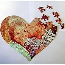 """Fotografía Personalizada Heart Juego De Puzzle Piezas / Personalizado Forma Corazón Puzles Imagen Pegatina / Juego Familiar, Regalo, Único Regalo Foto + Gratis Calcamonía Regalo - 8"""" x 9.6"""" (64 puzzles)"""