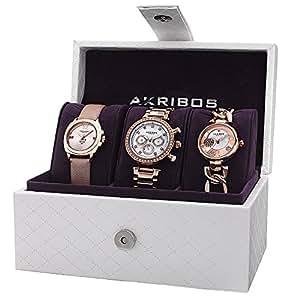 Akribos XXIV Femme ak741rg affichage analogique or quartz Suisse montre Set