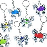 German Trendseller® - 12 x porte-clés chevaux┃pendentif bijoux ┃pour enfants┃ petit cadeau┃l'anniversaire d'enfant┃ en optique argent┃ mélange de couleurs