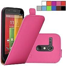 COOVY® COVER CASE CUBIERTA DELGADO FUNDA PROTECTORA CON TAPA PARA MOTOROLA Moto G XT1032 XT1033 (1. GENERACIÓN 2013) con lámina projoectora de pantalla color rosa fuerte
