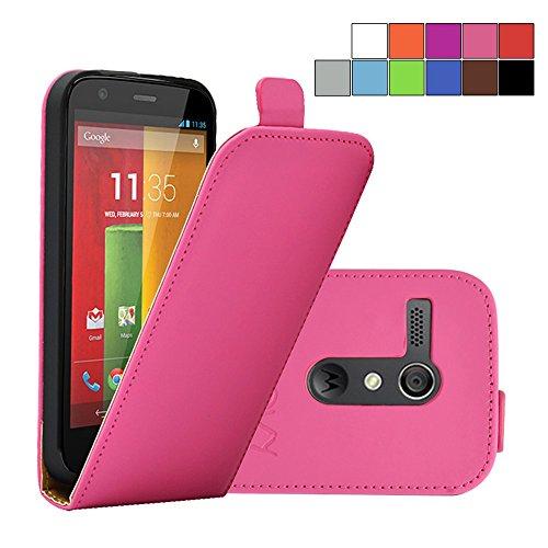 otorola Moto G XT1032 XT1033 (1. Generation Model 2013) Slim Flip Case Tasche Etui inklusive gratis Displayschutzfolie | Farbe hotpink ()
