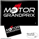 Set: 1 Zerbino (60x40 cm) + 1 Tappetino per Mouse (23x19 cm) - Motorismo, Motor Grand Prix