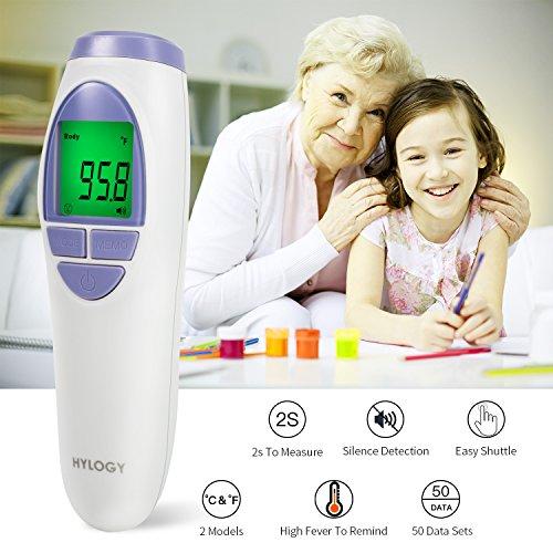 Termómetro Digital Frente y Oído,  HYLOGY Termómetro Infrarrojo Médico apto Pare Bebés y Adultos con Certifica FDA CE (violeta)