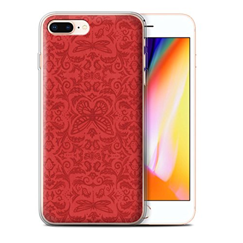 Stuff4 Gel TPU Hülle / Case für Apple iPhone 8 Plus / Schwarz / Weiß Muster / Insekten Muster Kollektion Rot