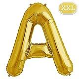 XXL Folienballon Buchstaben Gold [ ca.100cm ] , Buchstaben ballon für Geburtstag Jubiläum & Party Geschenk Dekoration Folienballons Luftballons Zahl ballon Happy Hochzeit Birthday [ A ~ Z ] (GOLD[A])