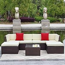 IKAYAA H0066 - 7 Piezas Conjunto de Muebles de Minbre para Jardín Set de 7 Mesa y Sillones Color Beige&Marrón