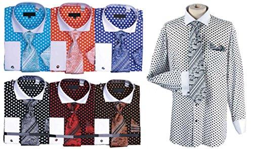 Men's Polka Dot Cutaway Collar Cotton Shirt Tie Cufflink Set White