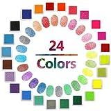 Stempelkissen in 24Farben von ICEBLUEOR, Regenbogenfarben, wasserlöslich, zum Basteln, aus Gummi, geeignet zum Kartenmachen