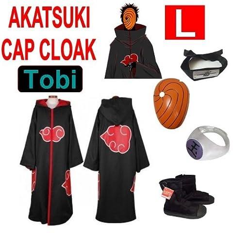 Hot!Naruto Cosplay Set für Tobi - Akatsuki Mantel (L) + Narudo Tobi Maske (gelb) + Tobi (Uchiha Madara) ring + Tobi Uchiha Itachi Stirnband + Naruto Akatsuki (Madara Uchiha Kostüm)