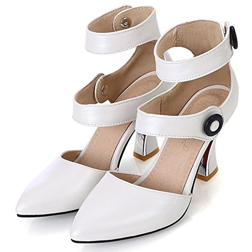 COOLCEPT Damen Mode-Event Klassische Ankle Strap High Heels Sandals Shoes White