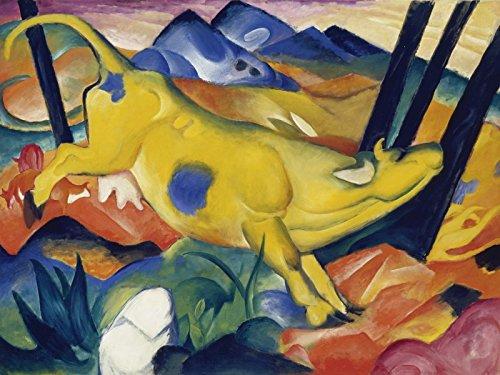 Artland Poster oder Leinwand-Bild fertig aufgespannt auf Keilrahmen mit Motiv Franz Marc Die gelbe Kuh. 1911 Tiere Haustiere Kuh Malerei Bunt C1KT (Bunte Kuh-malerei)