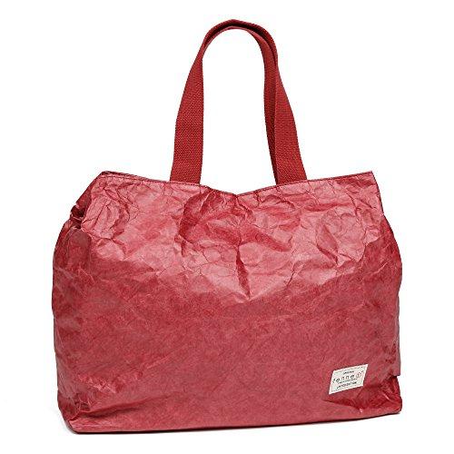 Fenner-Fashion Paper Bag Damen Handtaschen Schultertaschen Vegan Leder Look Moskau Rot (Futon Leder)