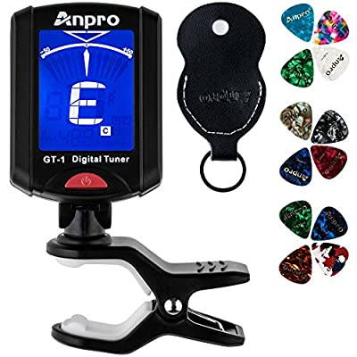 Anpro GT-1 Digital Tuner, 12 Pack Guitar Picks Include 0.46mm 0.71mm 0.96mm and 1 Pack Leather Key Chain Pick Holder For Guitar Ukulele Chromatic Violin