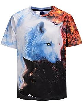 Hombre Camisetas Las Camisetas de los Hombres de Verano de Manga Corta Capa Ocasional de los Pares del Lobo 3D...